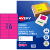 AVERY L7162FP LASER LABELS 16UP 99.1x34mm Fluoro Pink Pack of 25