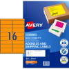 AVERY L7162FO LASER LABELS 16UP 99.1x34mm Fluoro Orange Pack of 25