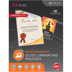 GBC Laminating Pouches A4 125 Micron Adhesive Back Pack of 25