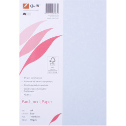 QUILL 90GSM A4 PARCHMENT PAPER Blue 100 Sheets Pack