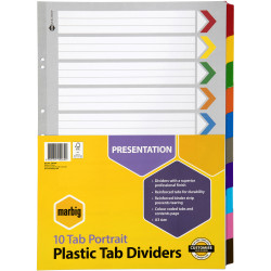 MARBIG COLOURED DIVIDERS A3 1-10Tab Board Portrait Asst Includes 10 Tabs