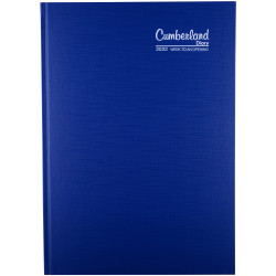 CUMBERLAND PREMIUM DIARY Week To View Casebound A4 Blue