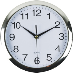 ITALPLAST WALL CLOCK 26cm Chrome Frame/White Face