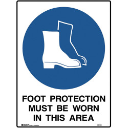 BRADY MANDATORY SIGN Foot Protection Be Worn 450x600mm Metal