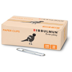 BIBBULMUN PAPER CLIPS 33mm Pack of 100